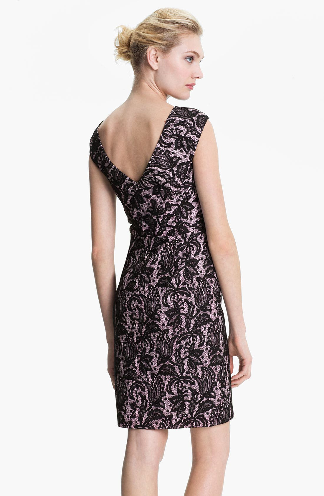 Alternate Image 2  - Kay Unger V-Back Lace Jacquard Sheath Dress