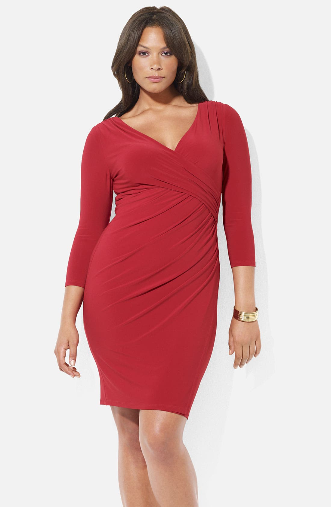 Main Image - Lauren Ralph Lauren Surplice Matte Jersey Sheath Dress (Plus)