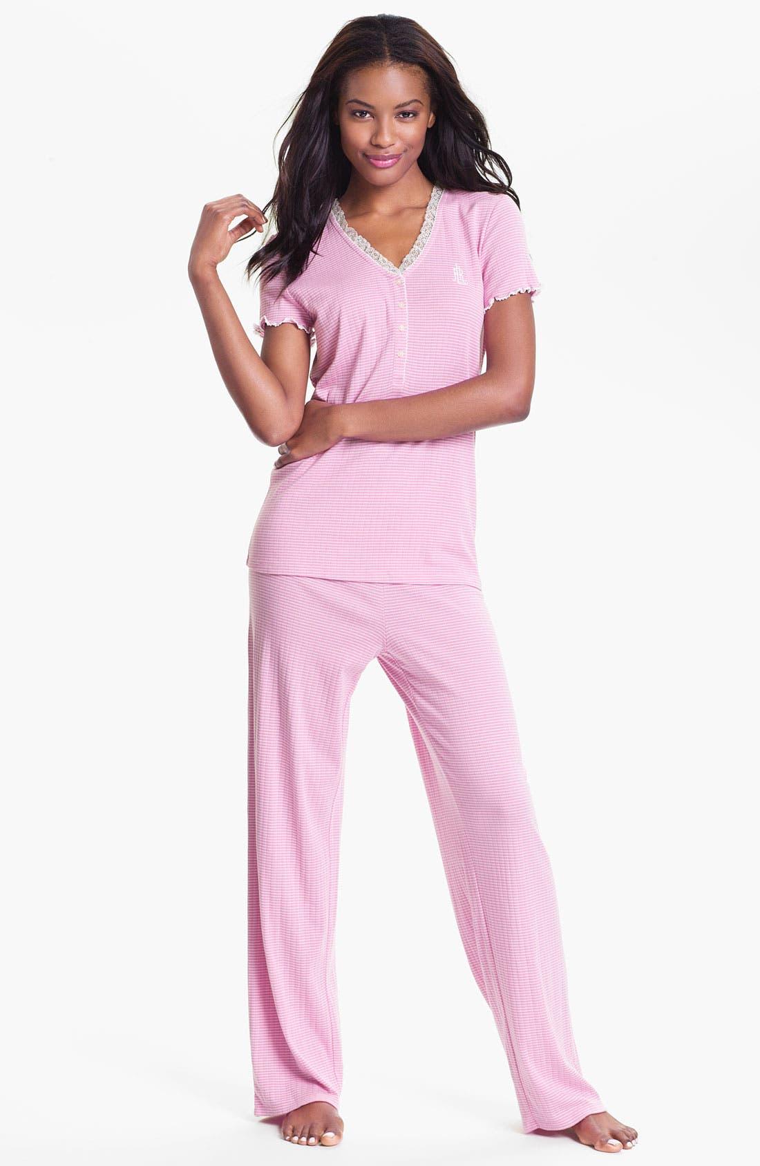 Alternate Image 1 Selected - Lauren Ralph Lauren Lace Trim Ribbed Knit Pajamas