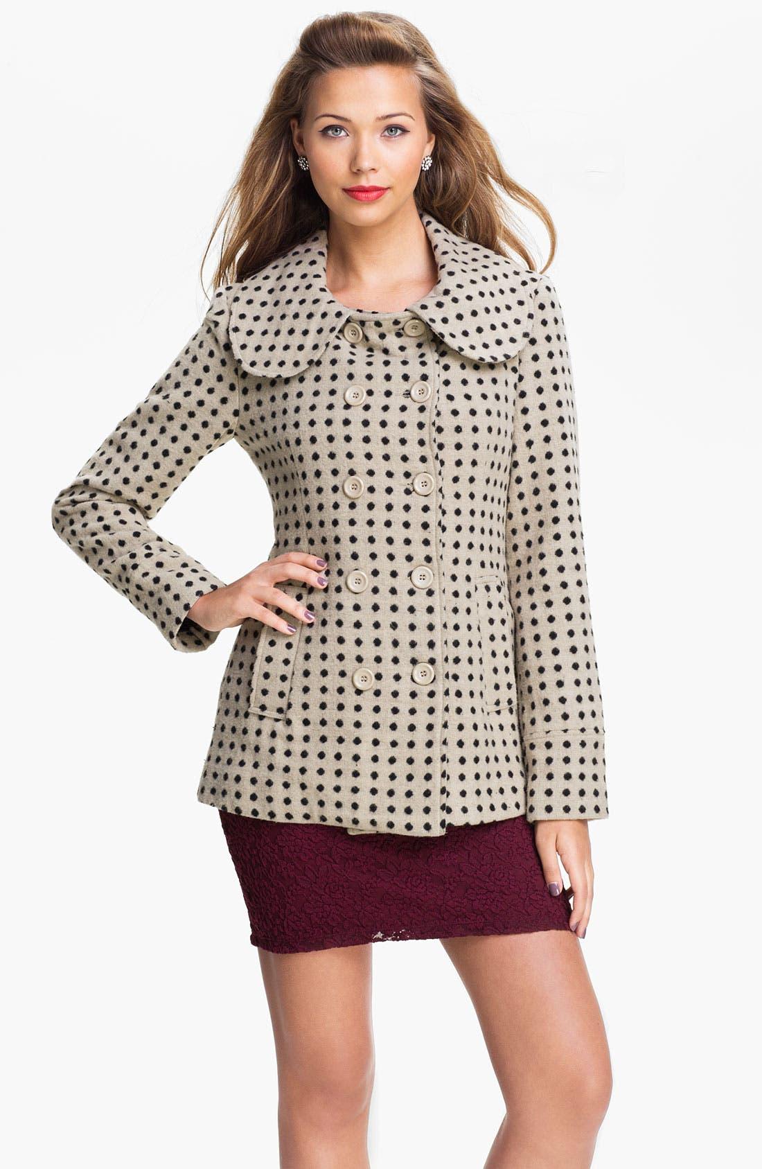 Alternate Image 1 Selected - Tulle Polka Dot Double Breasted Coat (Juniors)