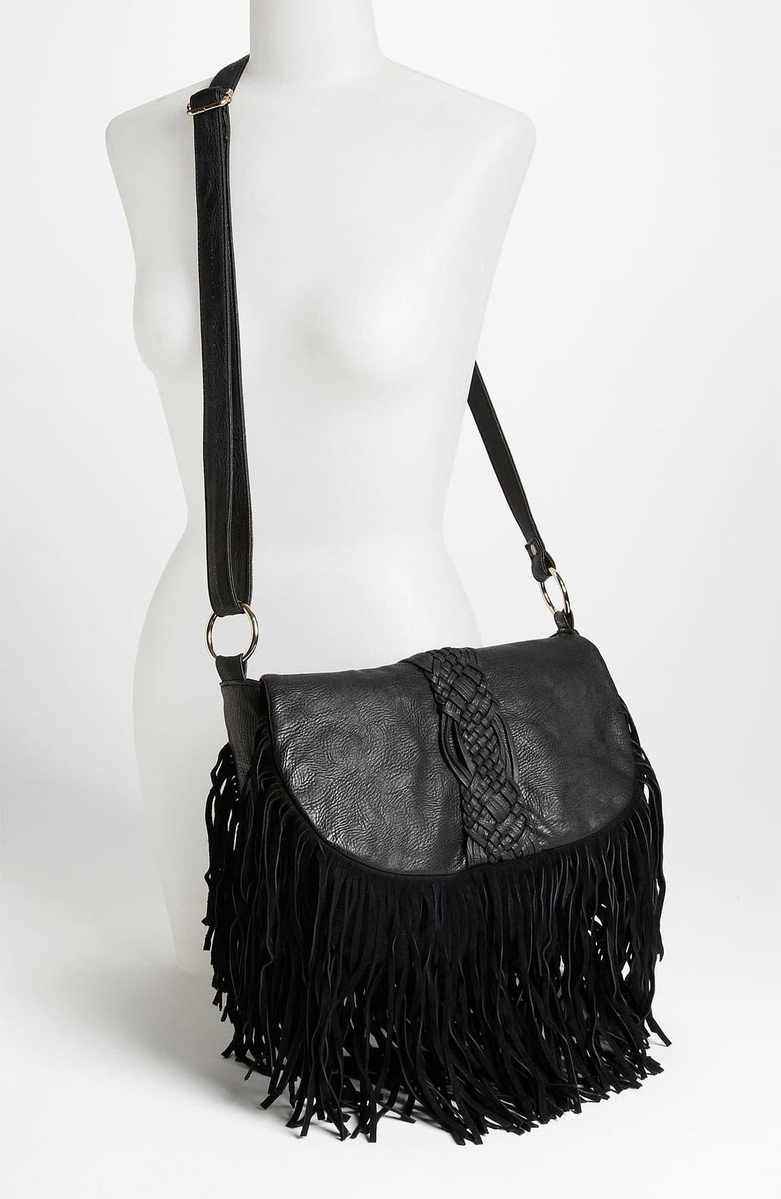 Alternate Image 2  - Street Level Woven Fringe Crossbody Bag