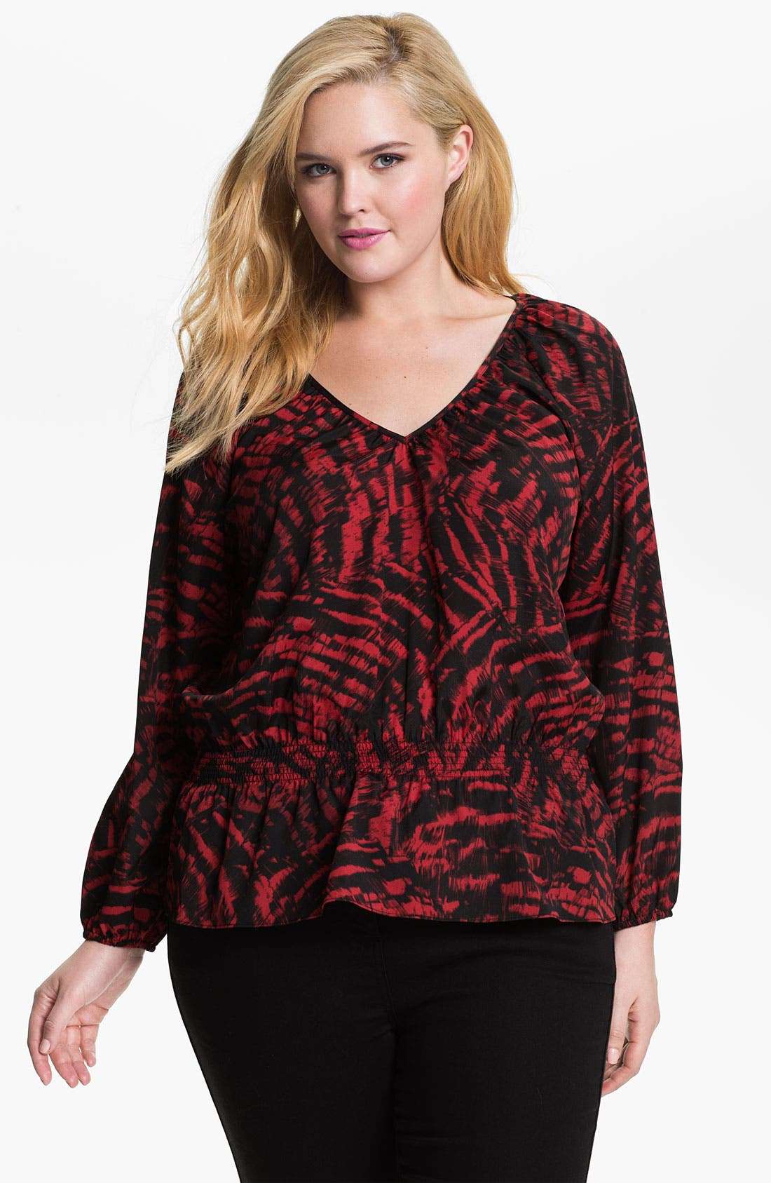 Alternate Image 1 Selected - MICHAEL Michael Kors 'Fantail' Peasant Top (Plus)