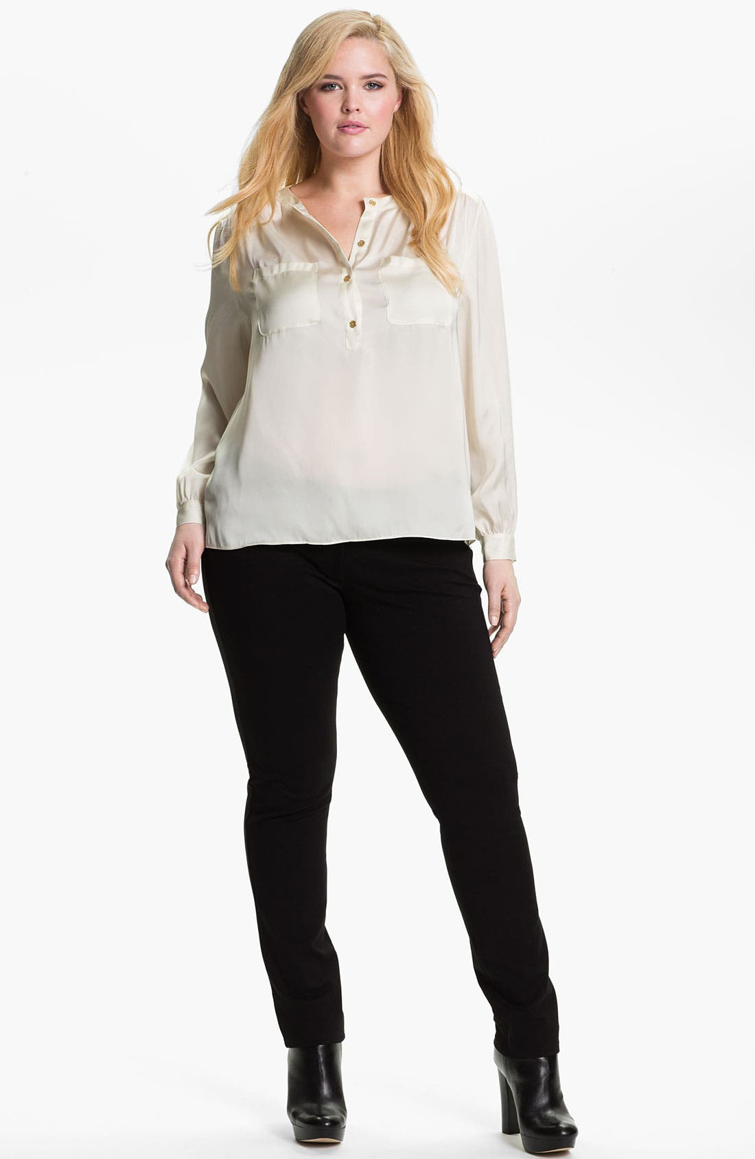 Alternate Image 3  - Eileen Fisher Skinny Ponte Knit Pants (Plus)