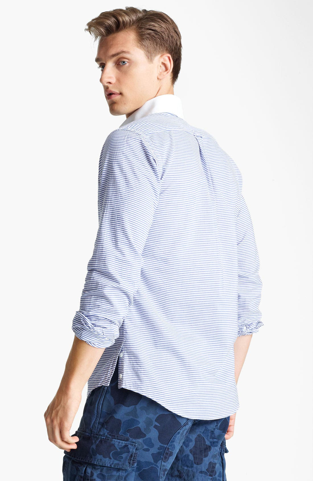 Alternate Image 2  - Gant by Michael Bastian Stripe Half Placket Woven Shirt