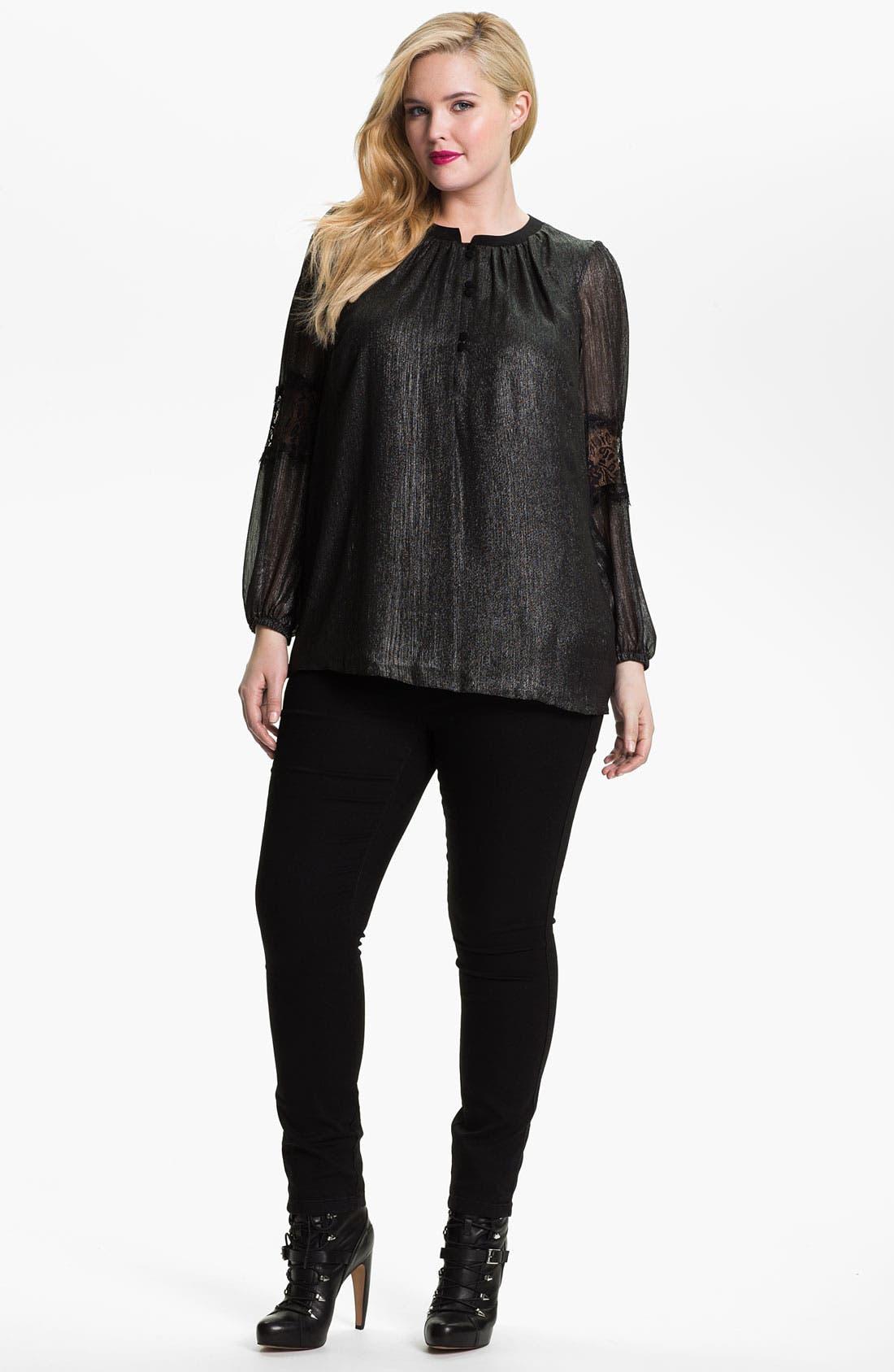 Alternate Image 2  - Evans 'Kimmy' Metallic Blouse (Plus Size)
