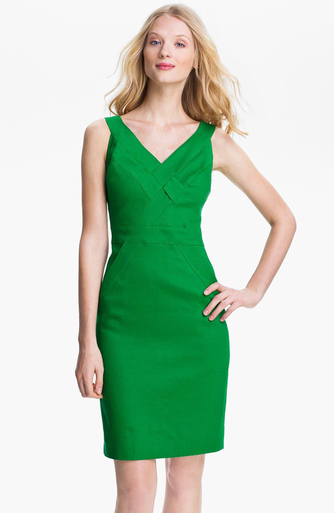 Main Image - Milly Basket Weave Stretch Linen Sheath Dress