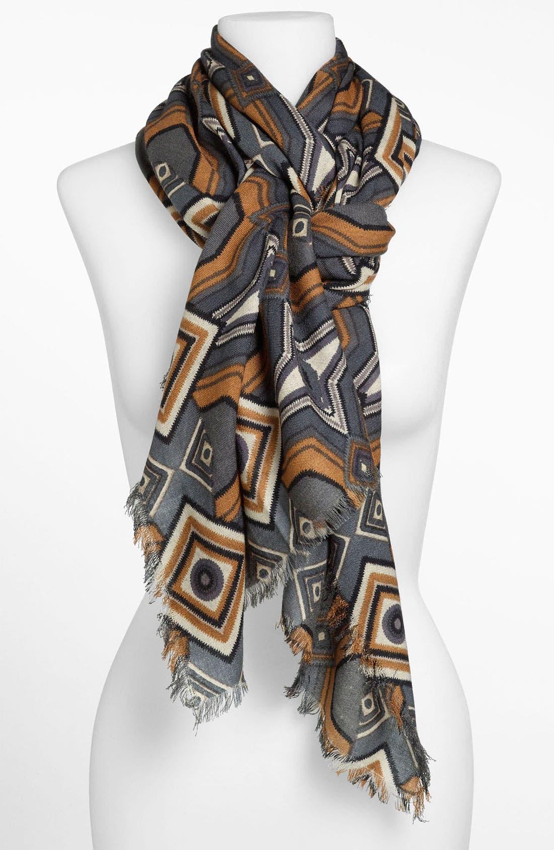 Main Image - Halogen® 'Mirror Medallion' Wool Challis Scarf