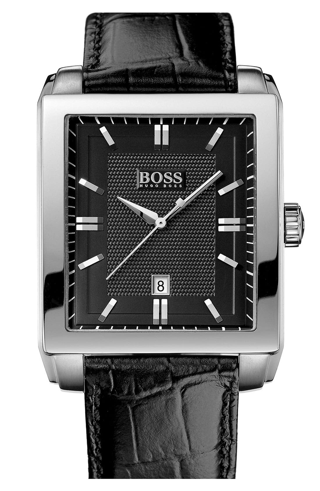 Main Image - BOSS HUGO BOSS Rectangular Leather Strap Watch, 35mm x 40mm
