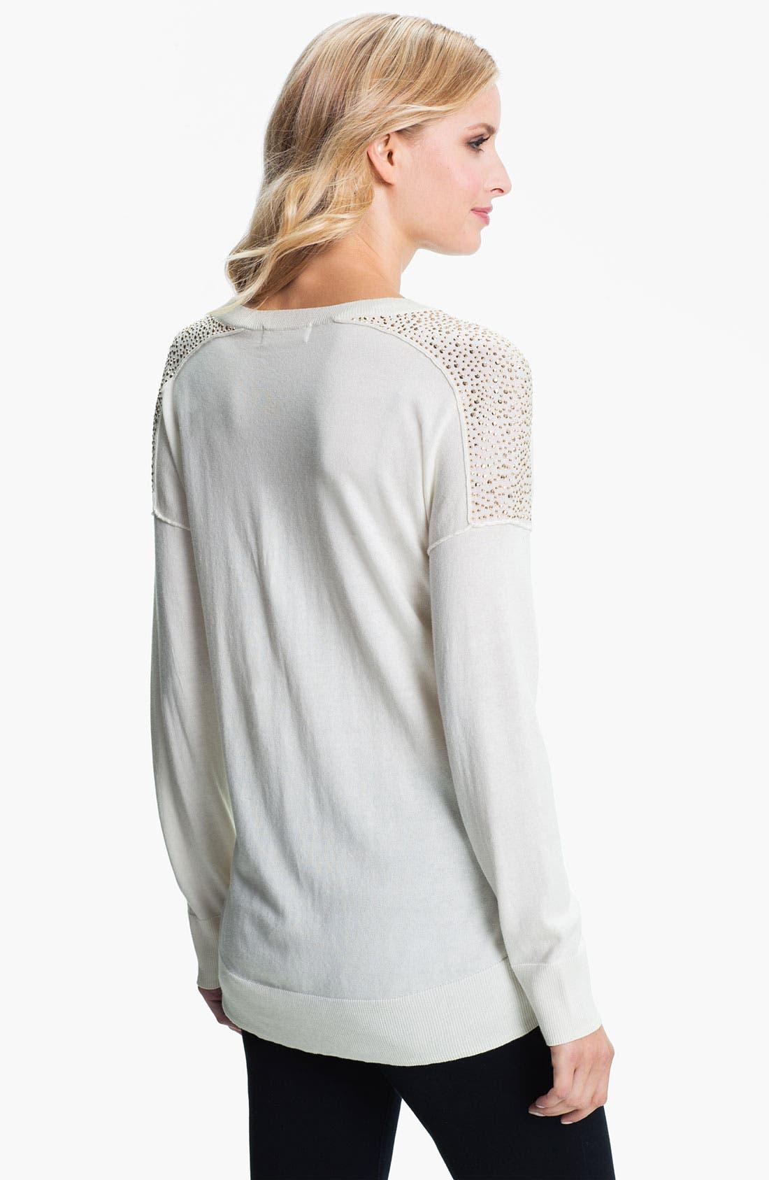 Alternate Image 2  - MICHAEL Michael Kors Studded V-Neck Sweater (Petite)