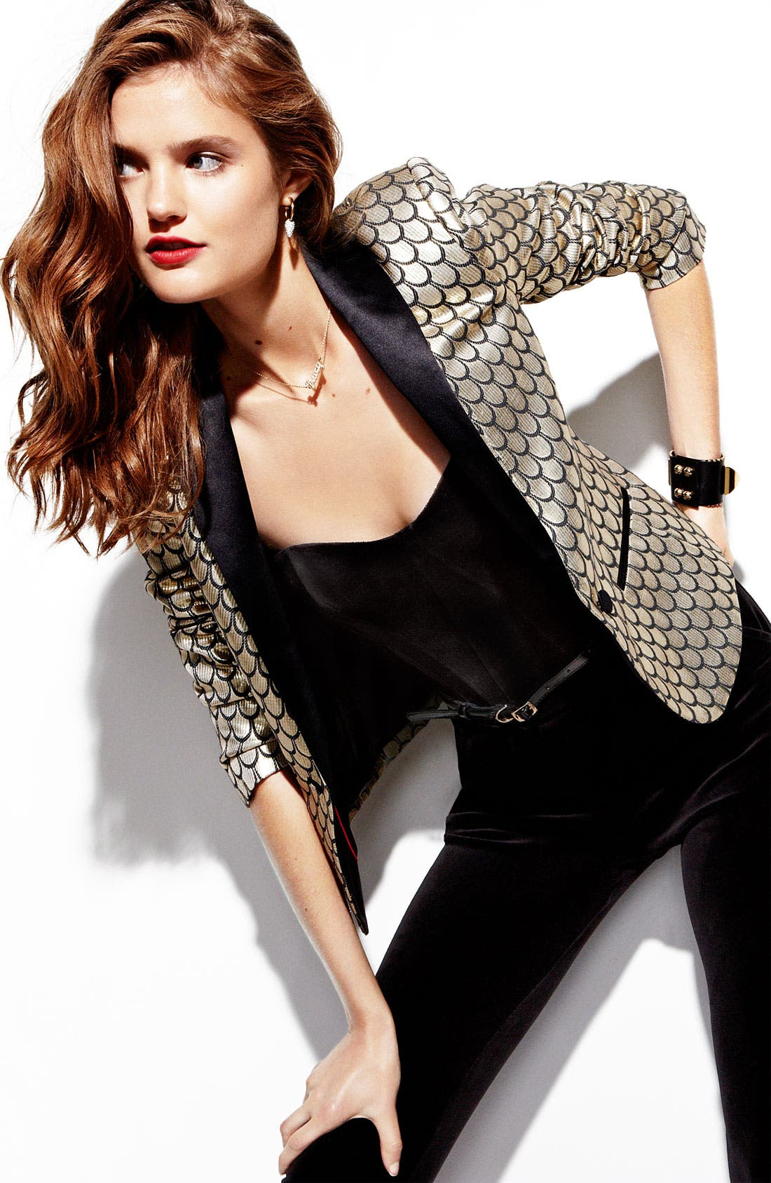 Alternate Image 4  - Juicy Couture Metallic Fishscale Jacquard Jacket