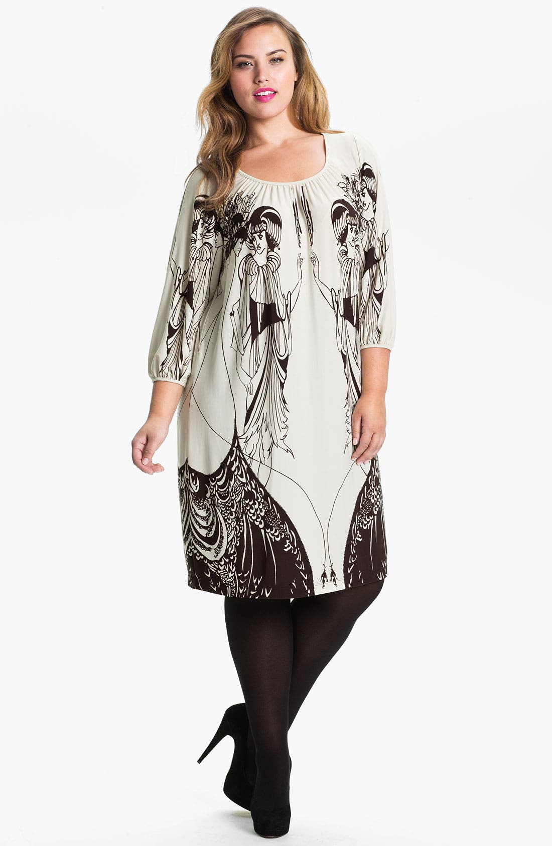 Alternate Image 1 Selected - Evans 'Salome' Placed Print Dress (Plus Size)