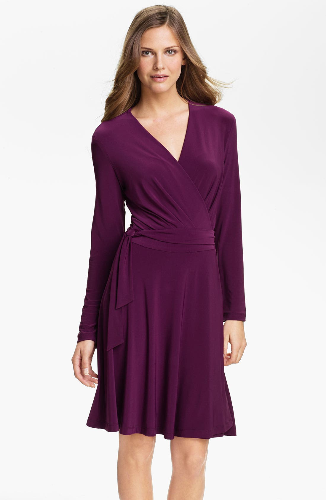 Alternate Image 1 Selected - Alex & Ava Long Sleeve Jersey Wrap Dress