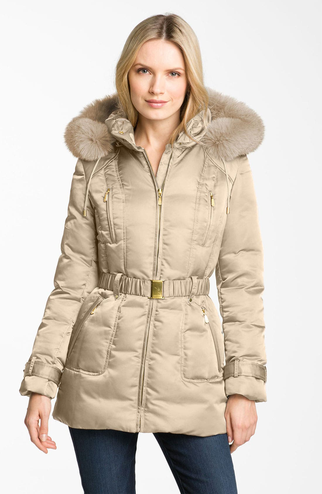 Alternate Image 1 Selected - 1 Madison Genuine Fox Fur Trim Down Jacket (Online Exclusive)