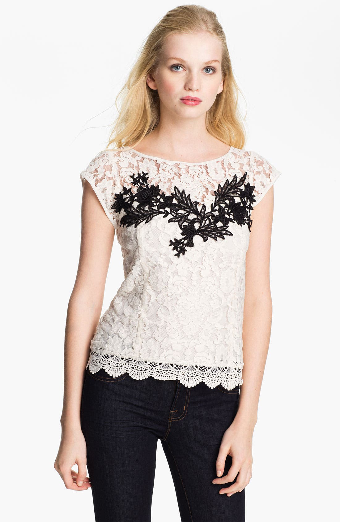 Alternate Image 1 Selected - Nanette Lepore 'Good Fortune' Lace Top