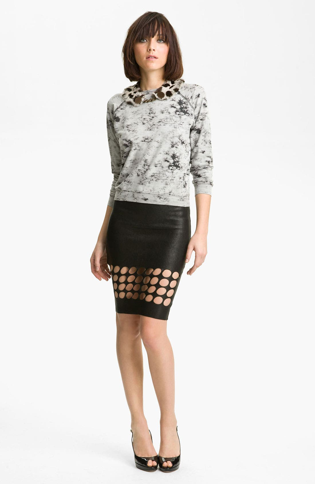 Main Image - Kelly Wearstler 'Priscilla' Sweatshirt with Removable Rabbit Fur Collar