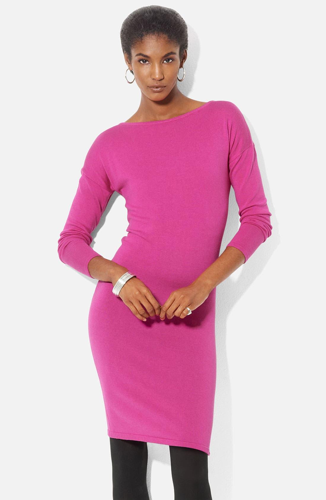 Alternate Image 1 Selected - Lauren Ralph Lauren Bateau Neck Merino Knit Dress (Petite)