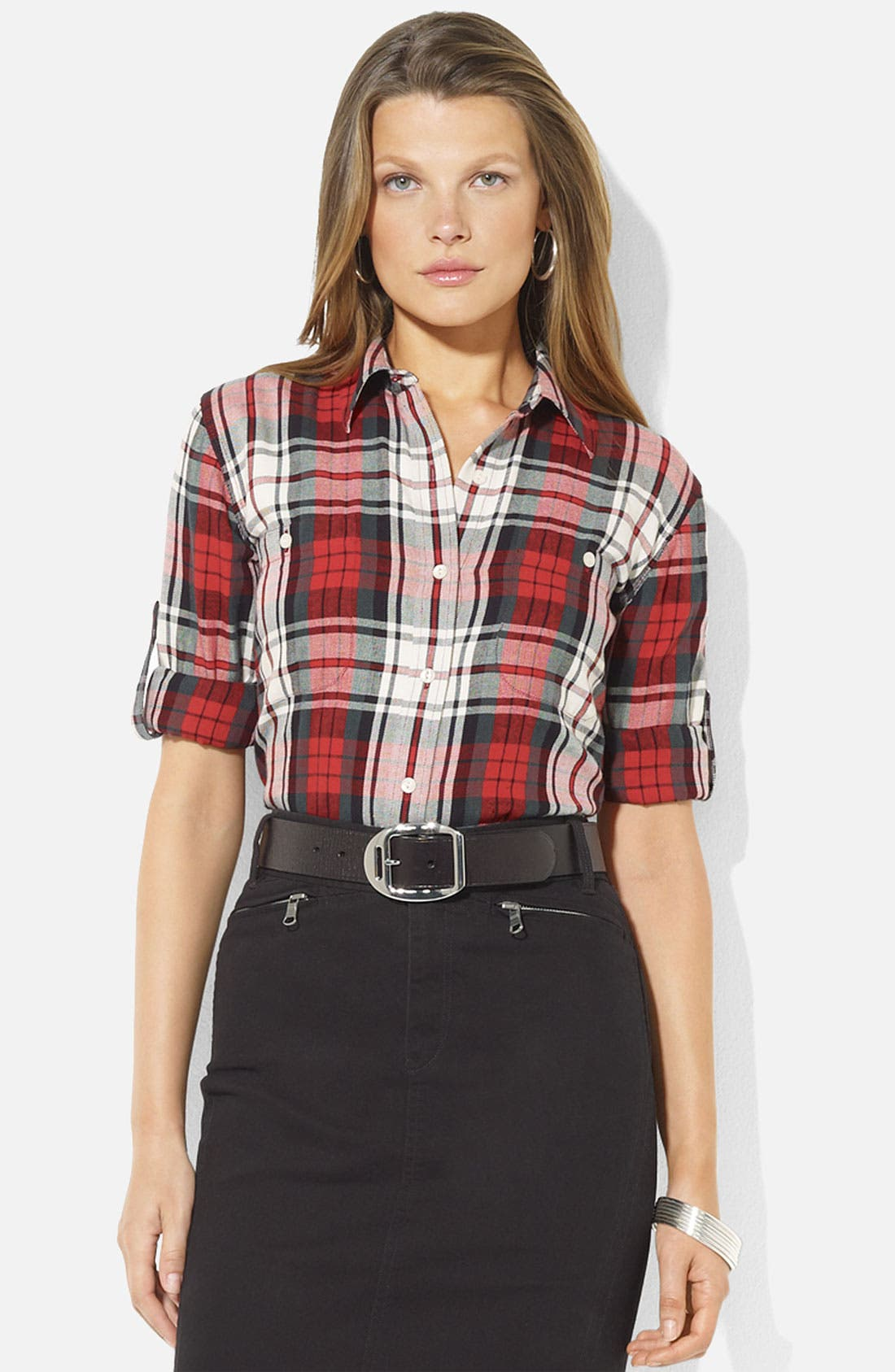 Main Image - Lauren Ralph Lauren Roll Sleeve Plaid Shirt (Petite) (Online Exclusive)