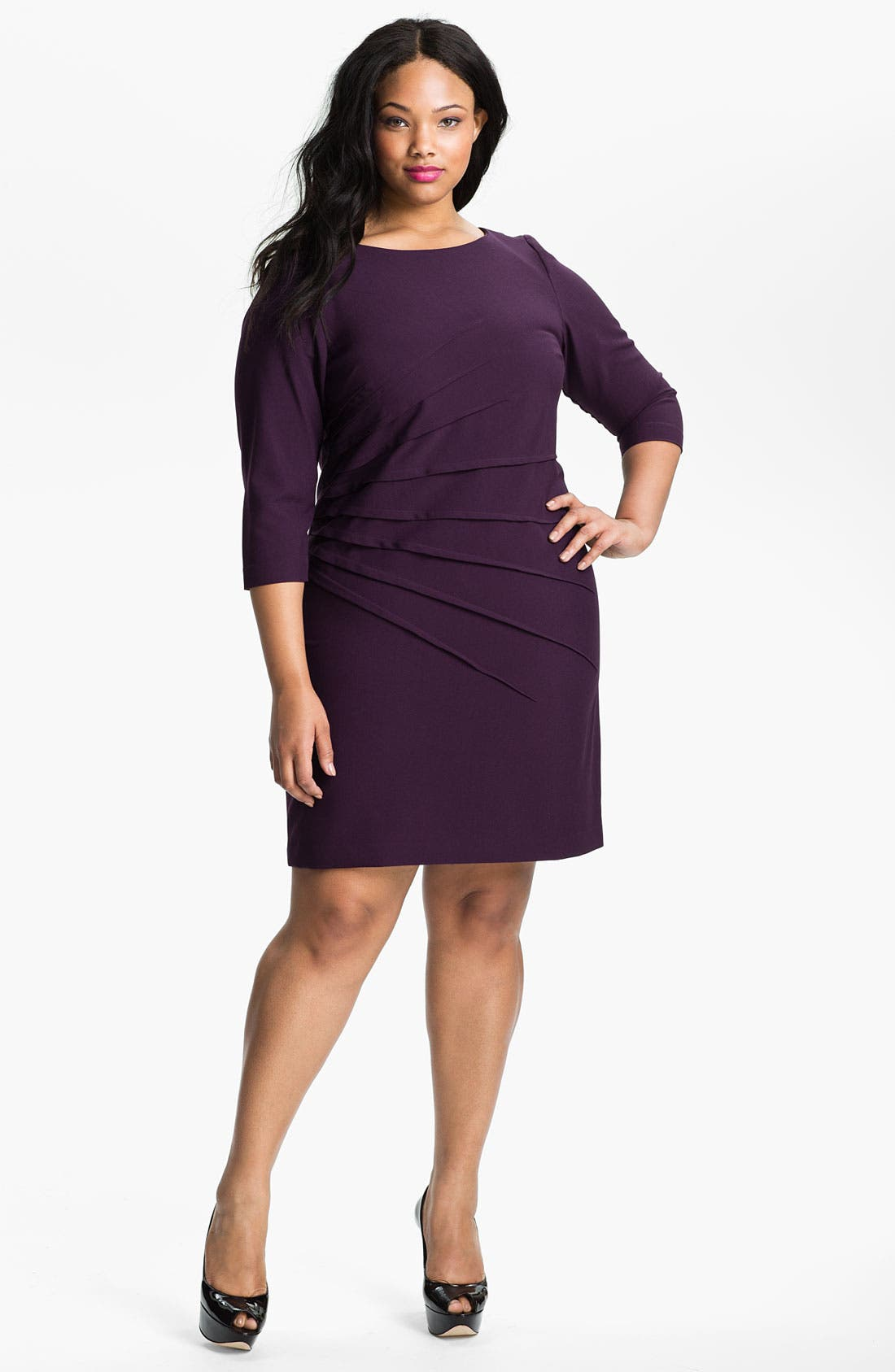 Alternate Image 1 Selected - Eliza J Starburst Pleat Jersey Dress (Plus)