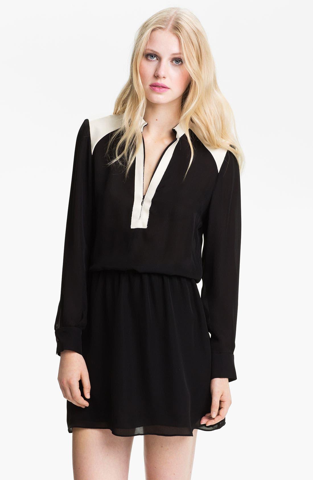 Alternate Image 1 Selected - Parker Zip Neck Colorblock Silk Dress