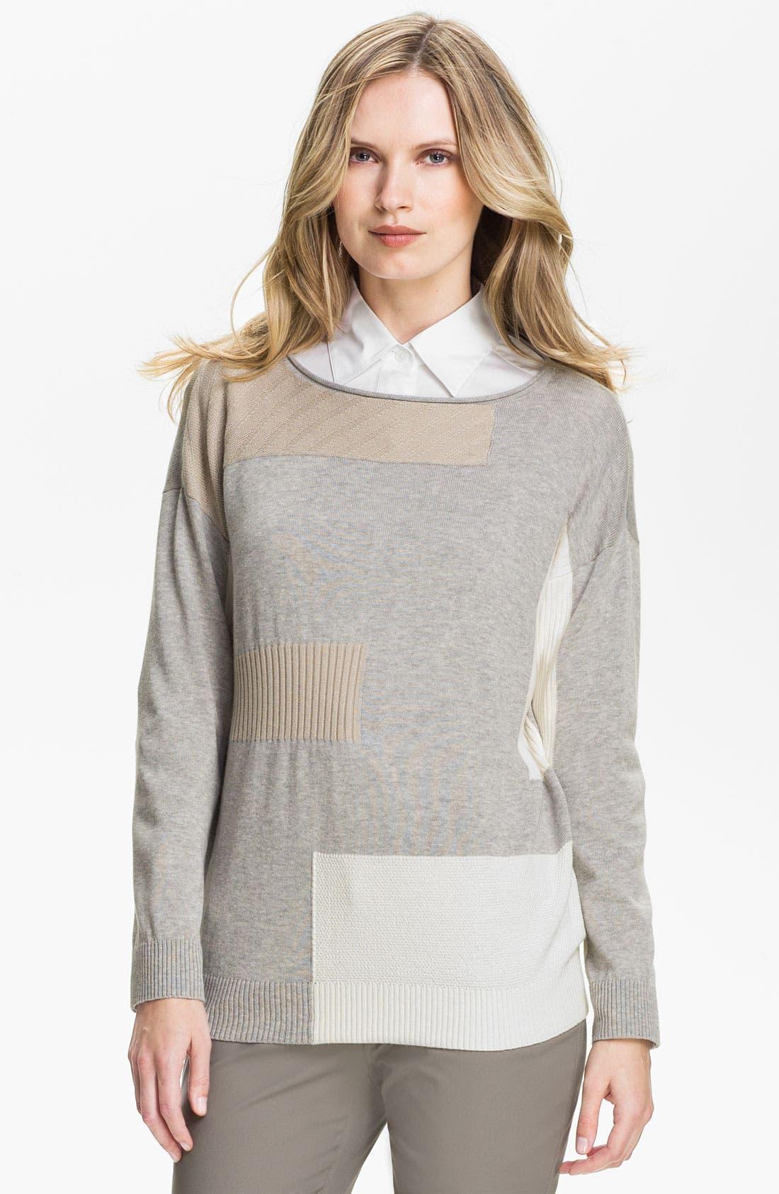 Main Image - Lafayette 148 New York Intarsia Colorblock Sweater