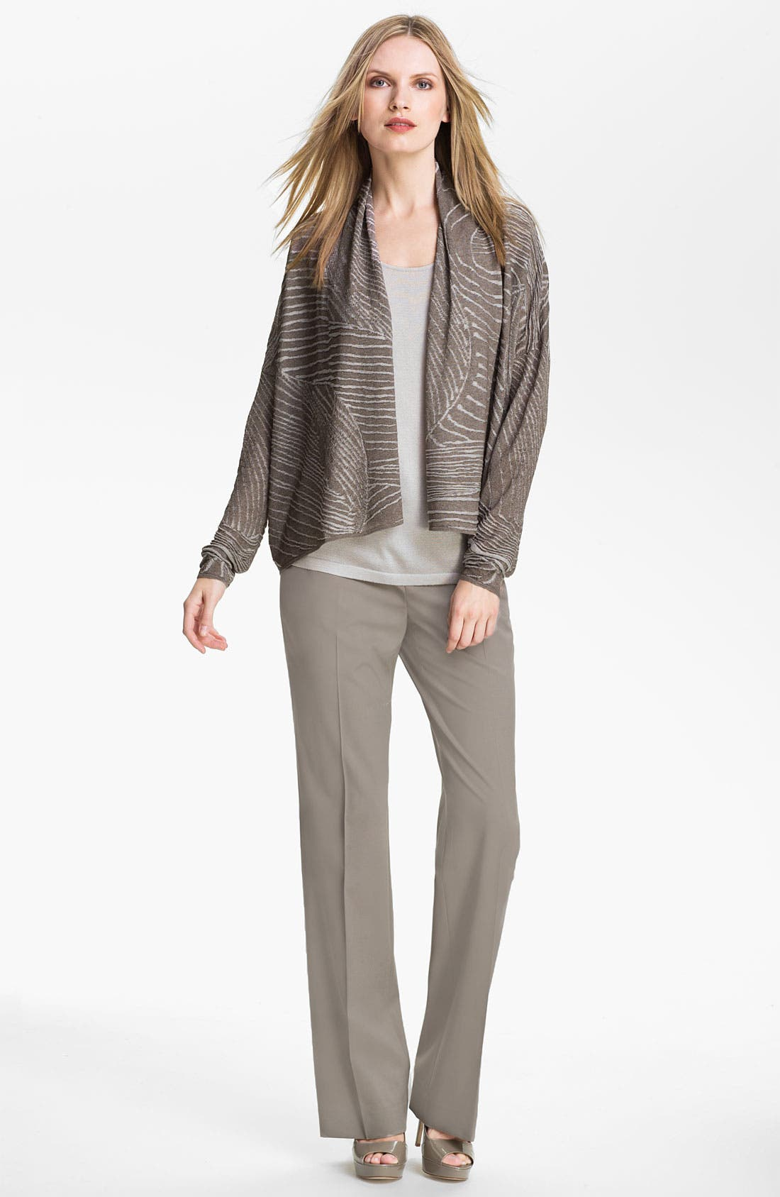 Alternate Image 4  - Lafayette 148 New York Jacquard Drape Front Cardigan