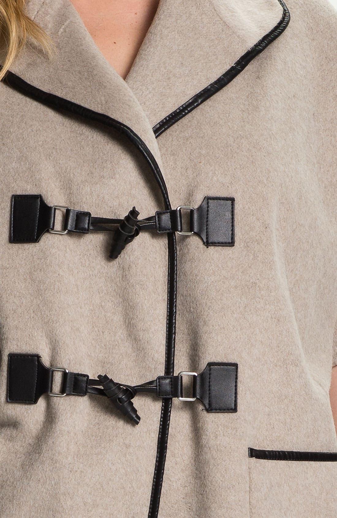 Alternate Image 3  - Evans Faux Leather Trim Toggle Coat (Plus Size)