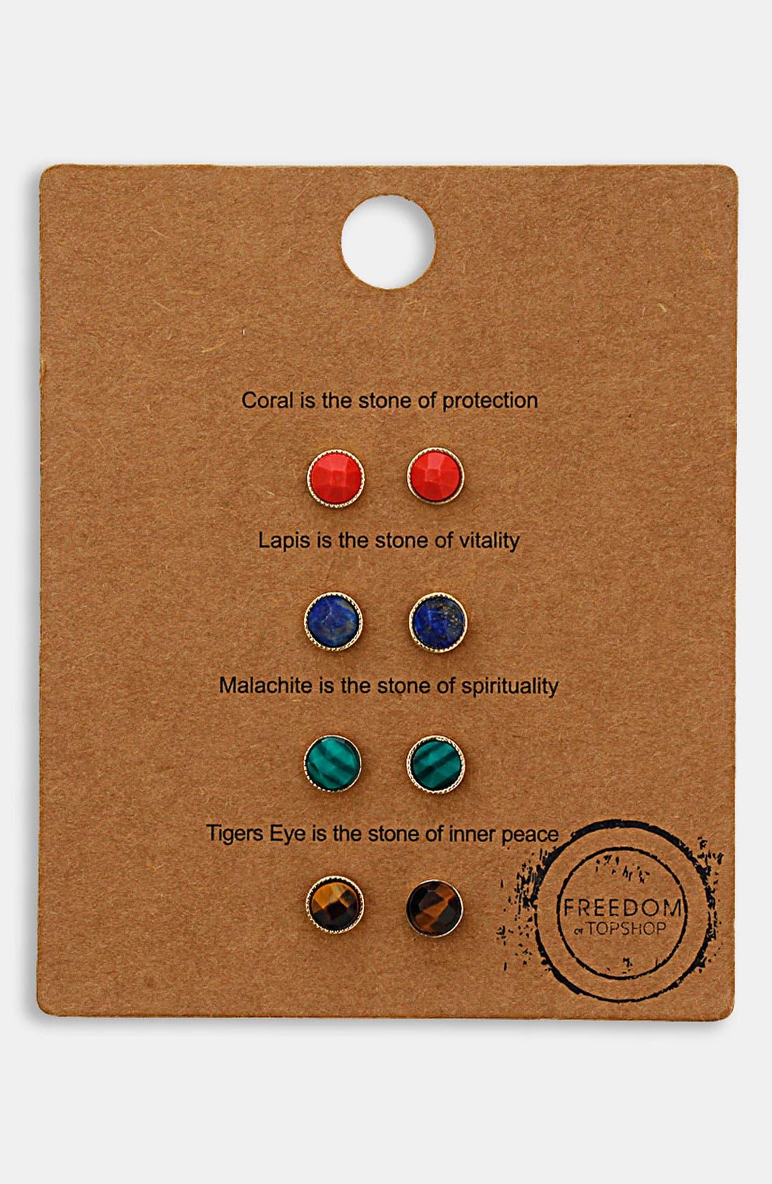 Main Image - Topshop 'Message' Stud Earrings (Set of 4)