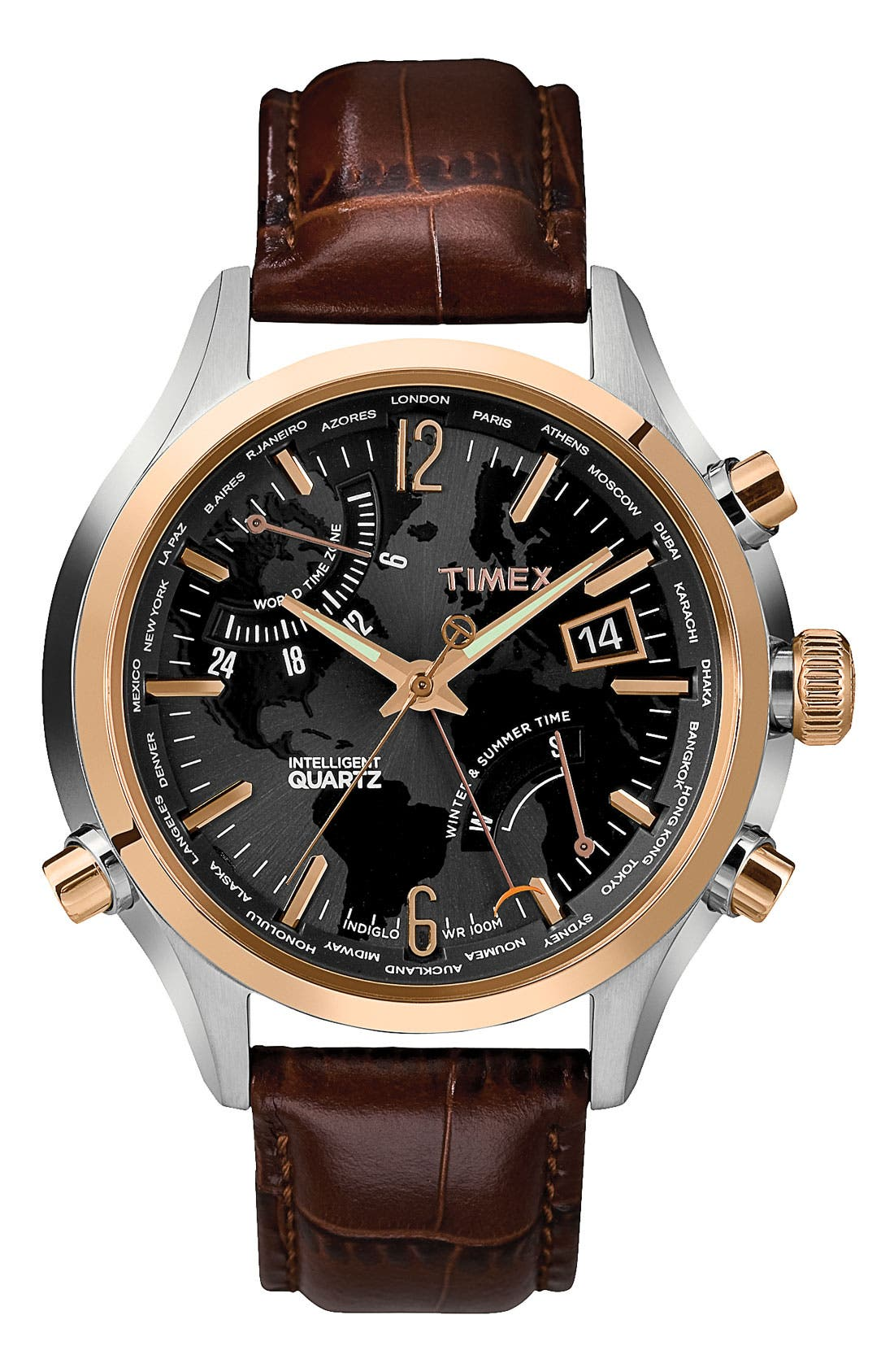 Main Image - Timex® 'Intelligent Quartz' World Time Leather Strap Watch, 44mm
