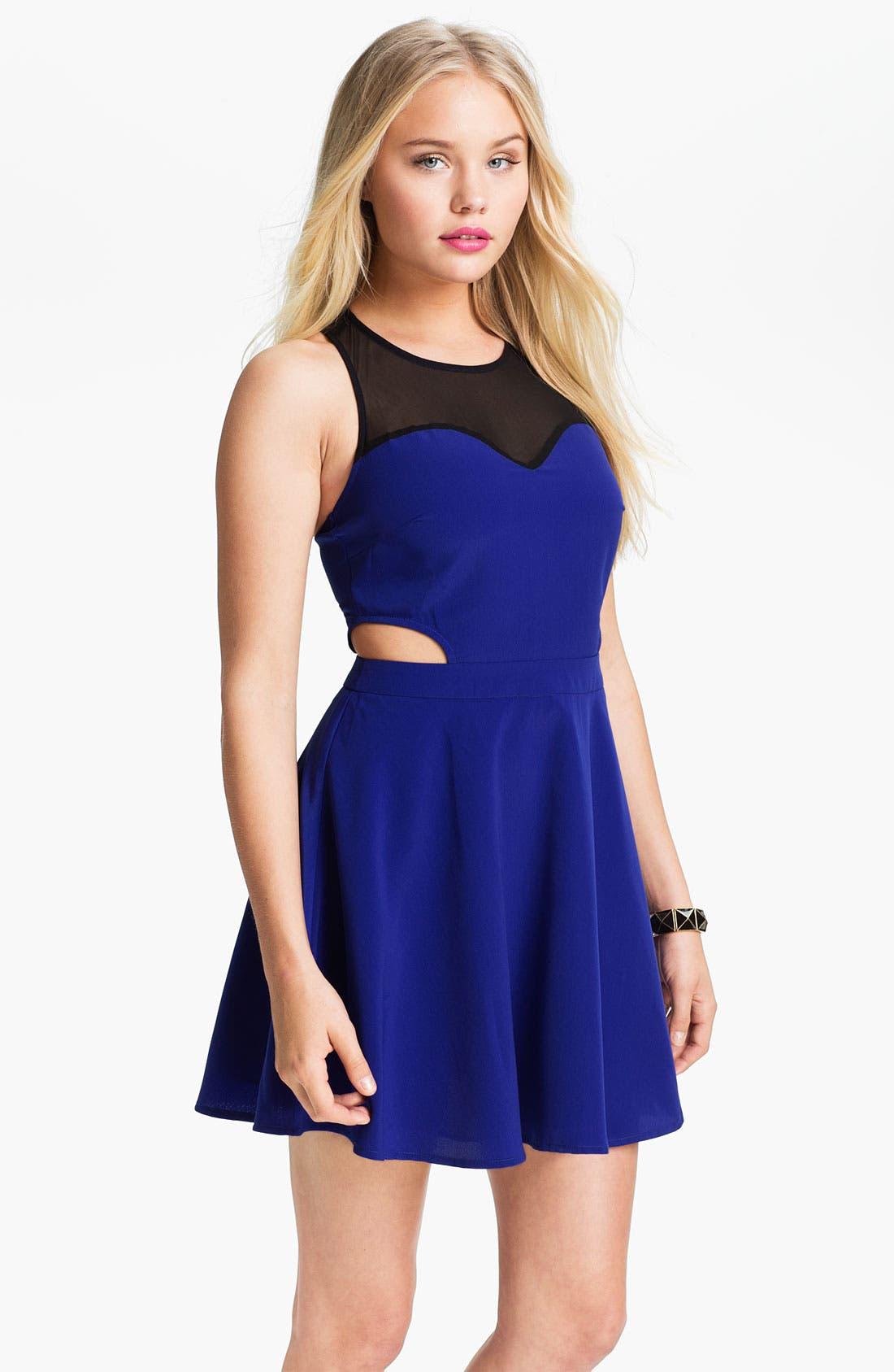 Main Image - Lush Clothing Mesh Illusion Cutout Skater Dress (Juniors)