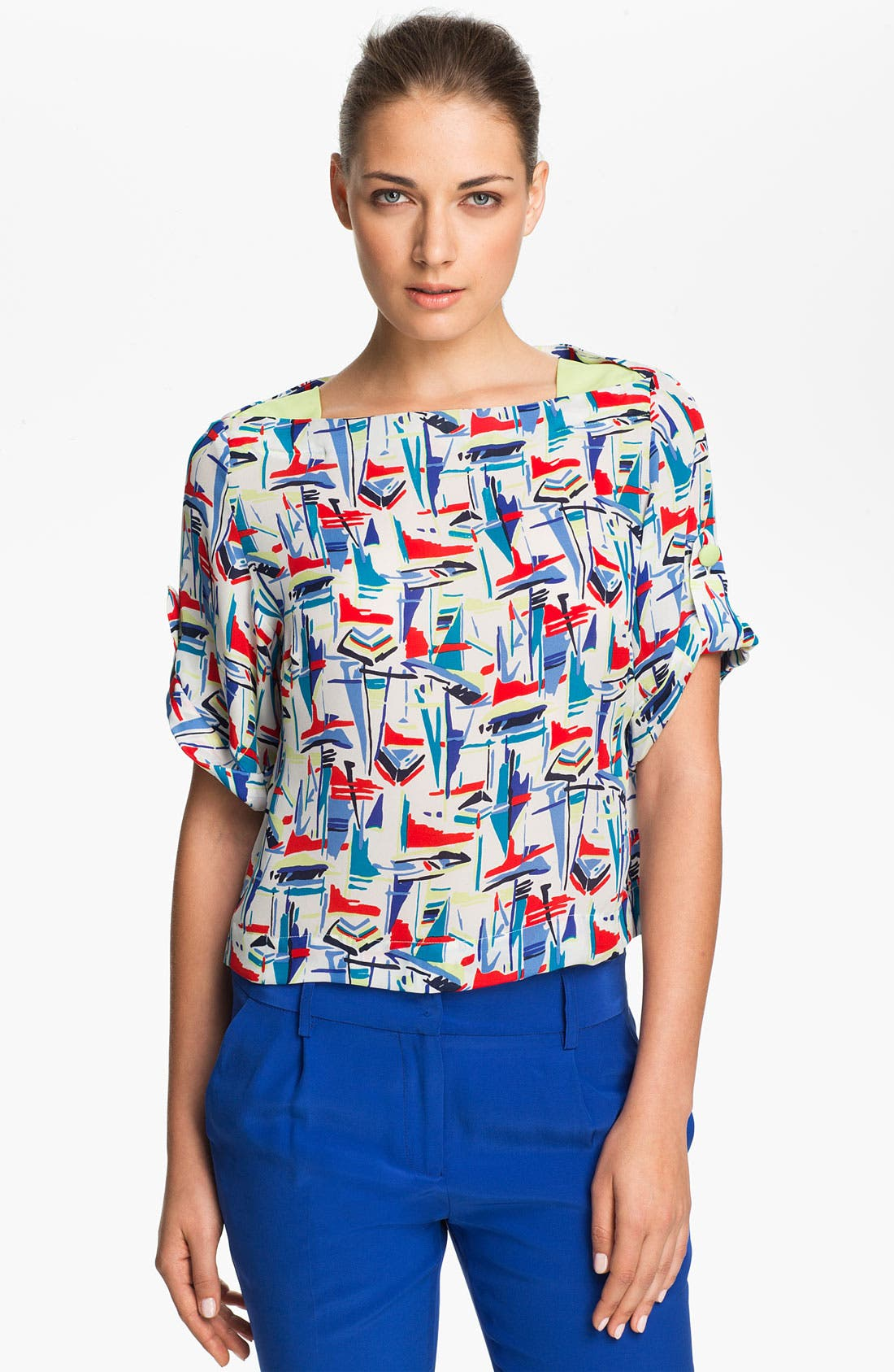 Alternate Image 1 Selected - Milly 'Gillian' Crop Silk Top