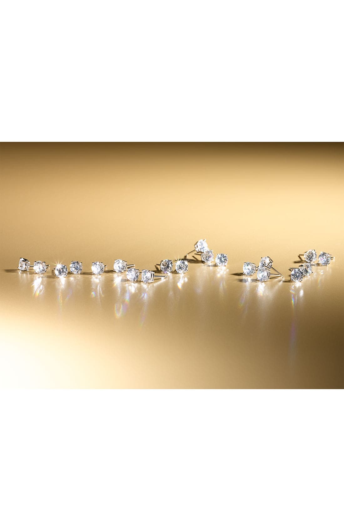Alternate Image 2  - Nordstrom Round 2ct Cubic Zirconia Earrings (Special Purchase)