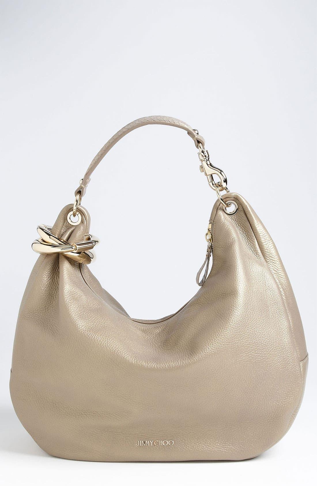 Main Image - Jimmy Choo 'Solar - Large' Pearlized Metallic Leather Hobo