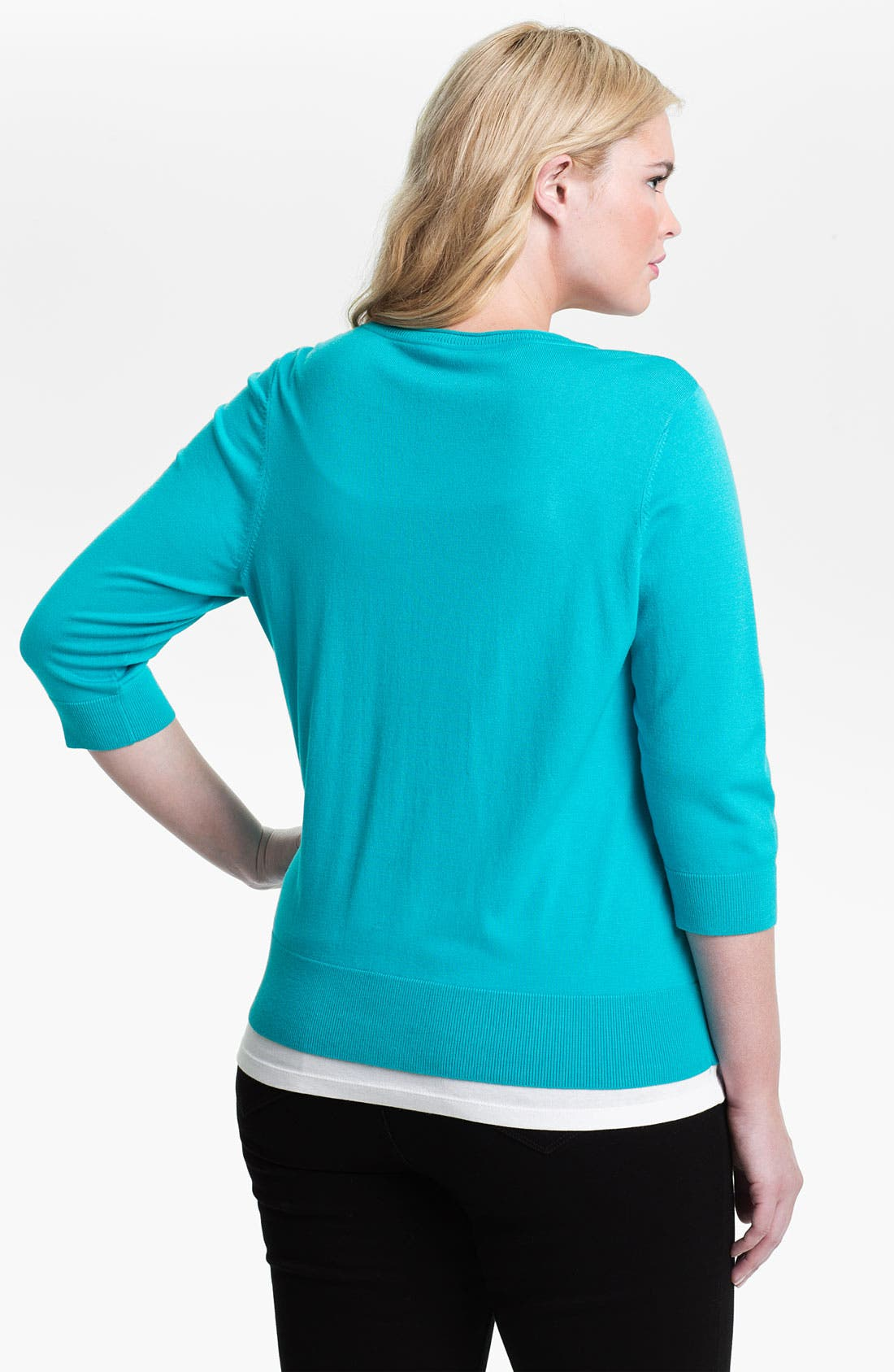 Alternate Image 2  - Sejour Three Quarter Sleeve Cardigan (Plus Size)