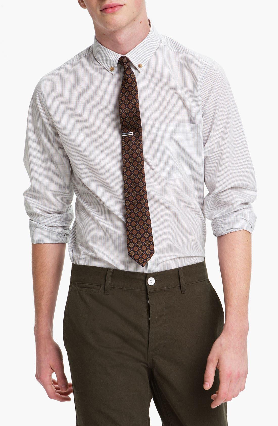 Main Image - Topman 'Georgio' Grid Check Woven Shirt