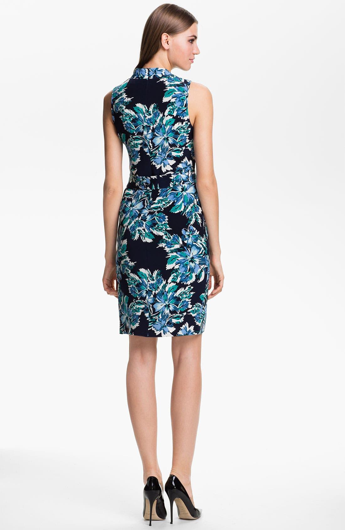 Alternate Image 2  - St. John Collection Belted Hibiscus Print Silk Dress