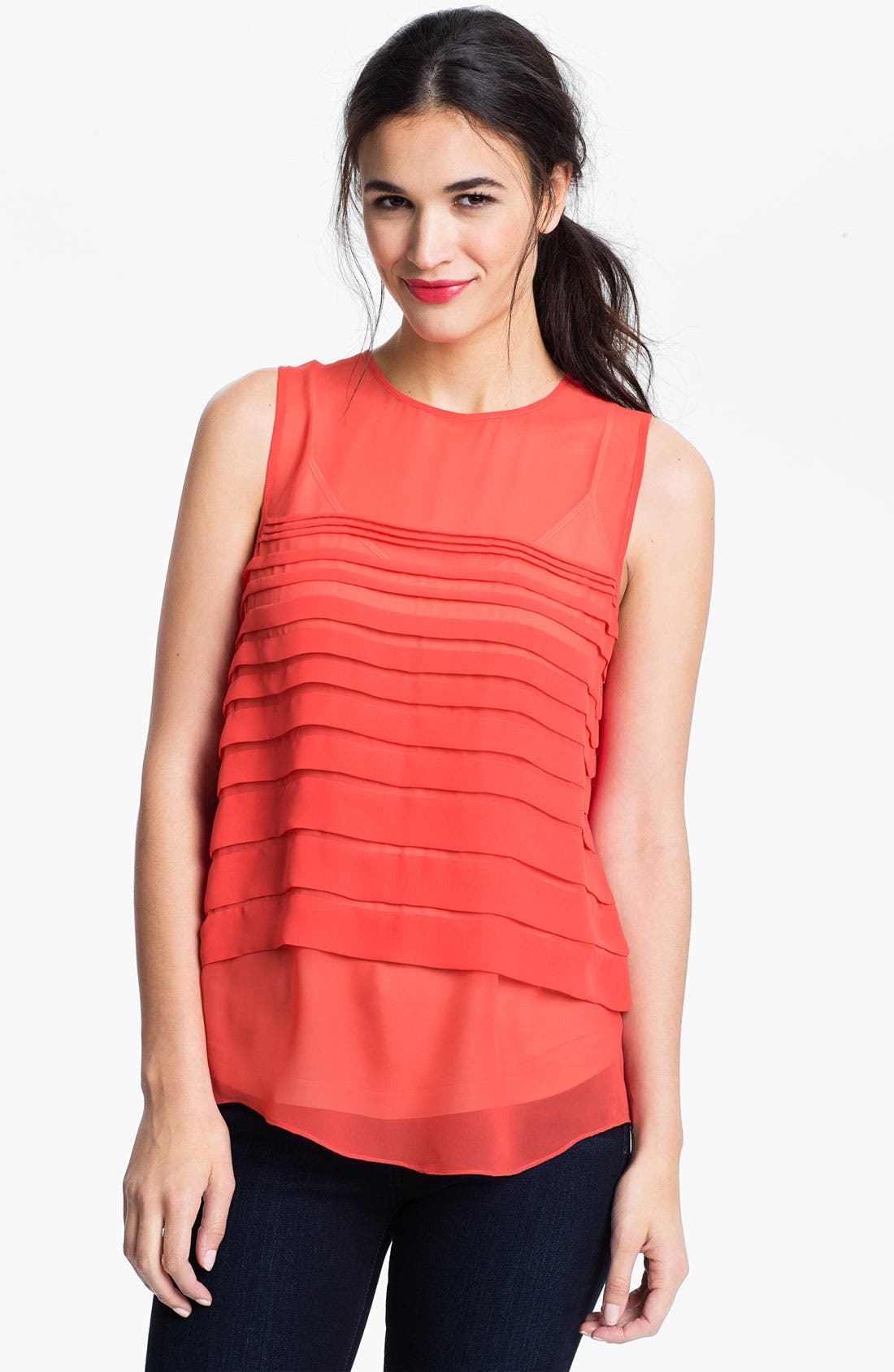 Alternate Image 1 Selected - Vince Camuto Tiered Pleat Shell