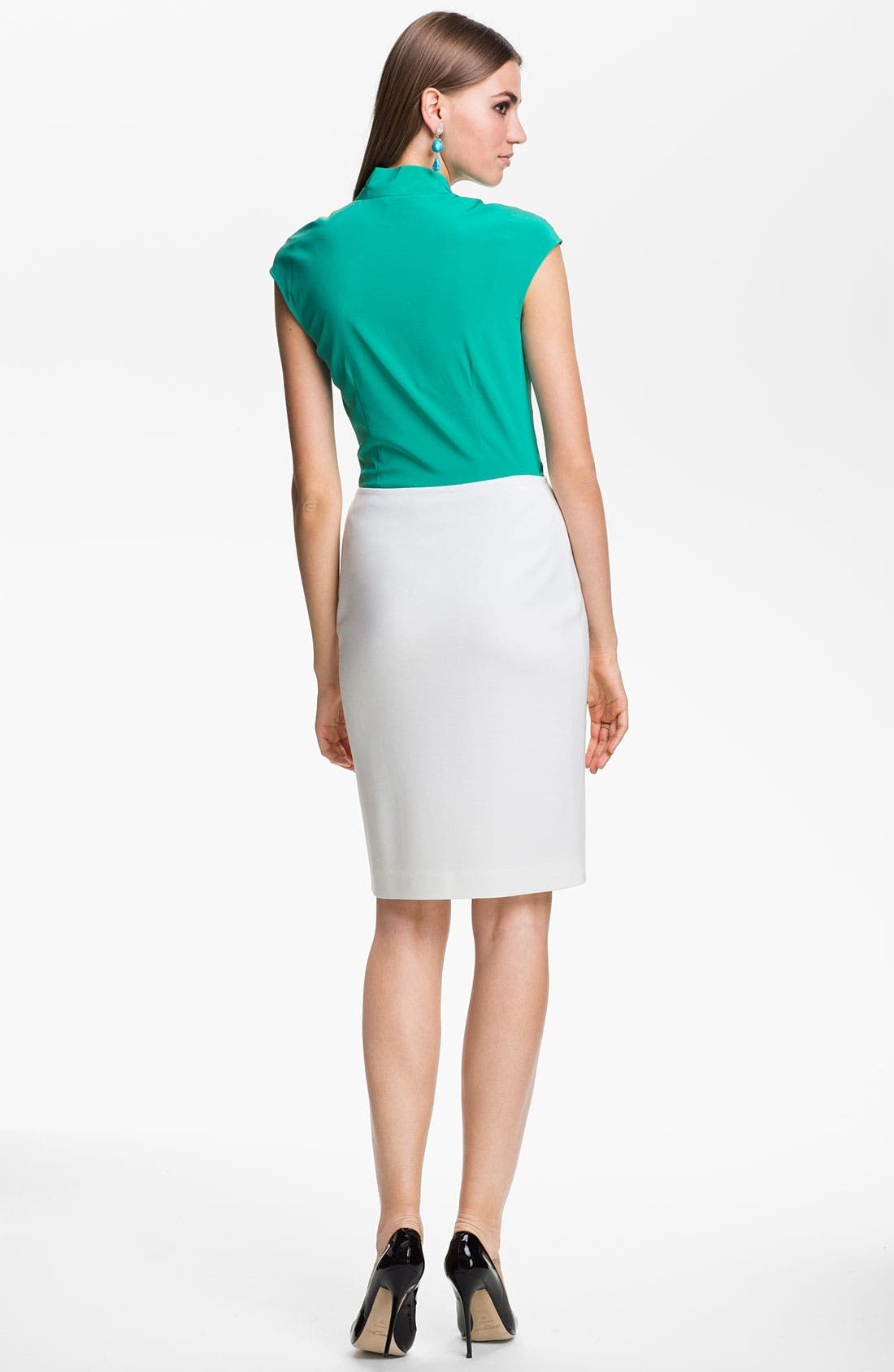 Alternate Image 3  - St. John Collection Cap Sleeve Crepe Top