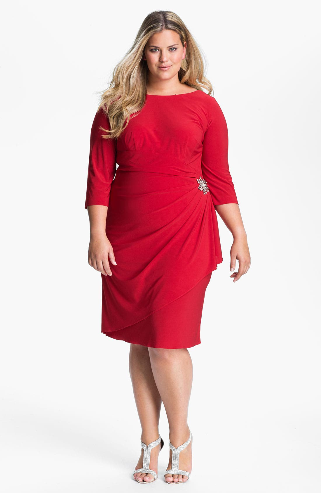 Alternate Image 1 Selected - Alex Evenings Jeweled Faux Wrap Matte Jersey Sheath Dress (Plus Size)