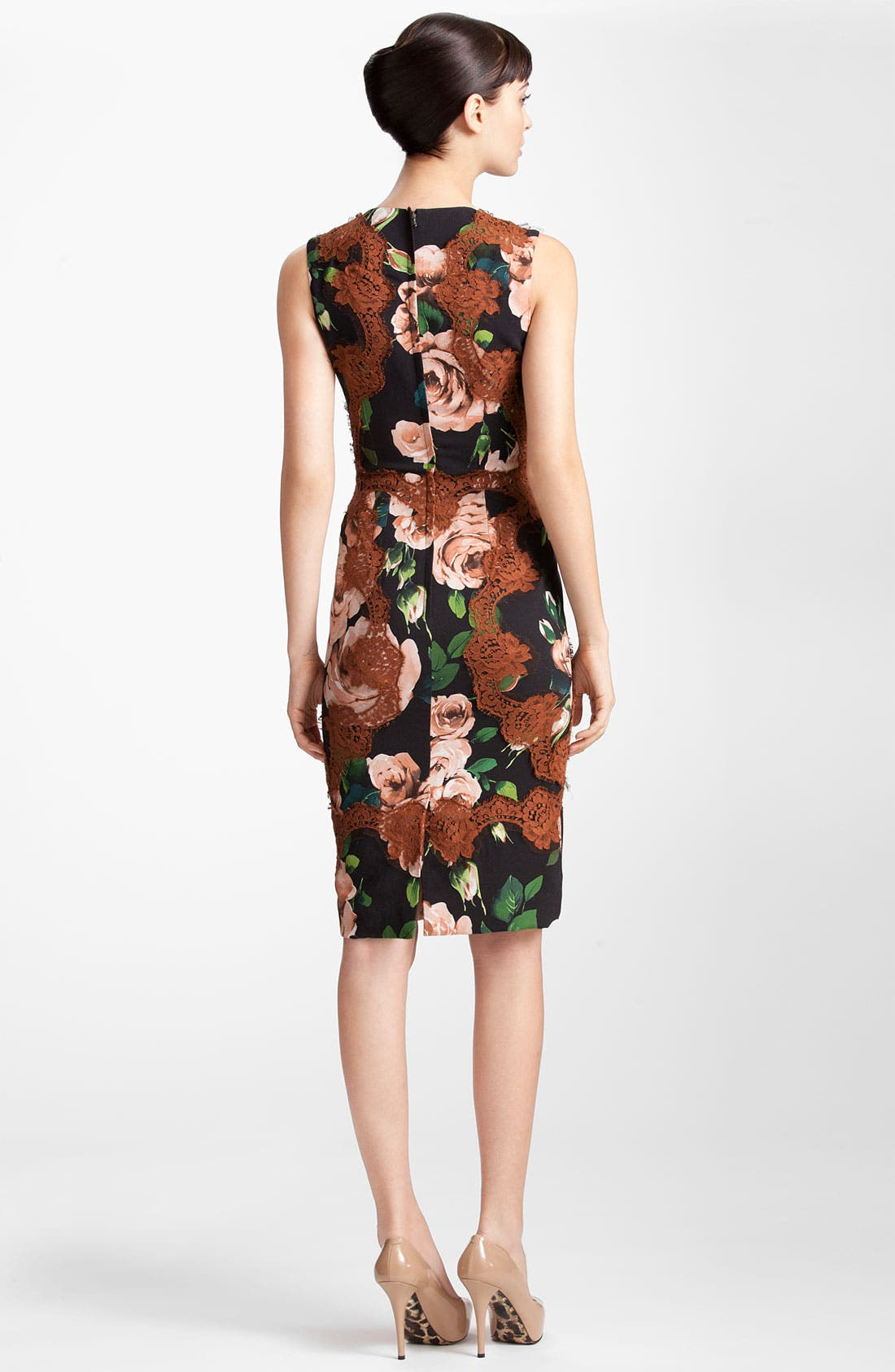 Alternate Image 2  - Dolce&Gabbana Rose Print Stretch Cady Dress