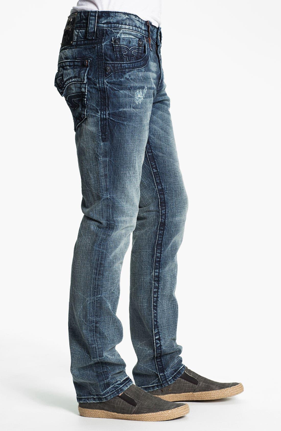 Alternate Image 3  - Rock Revival 'Dain' Straight Leg Jeans (Light Blue)