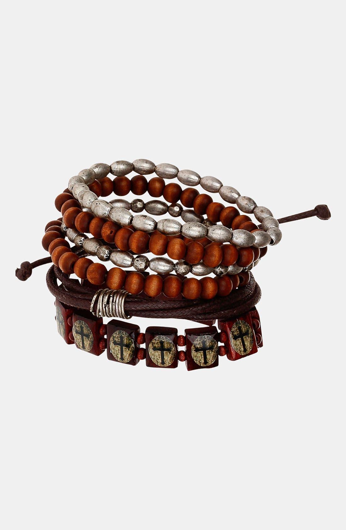 Alternate Image 1 Selected - Topman Mixed Bracelet Set
