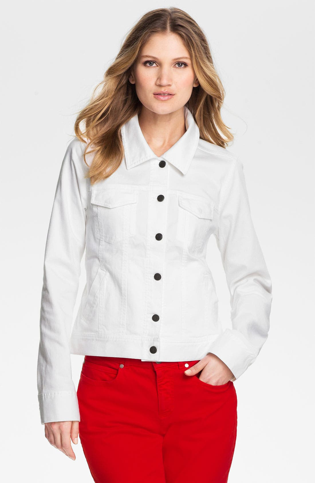 Main Image - Eileen Fisher Organic Stretch Cotton Denim Jacket