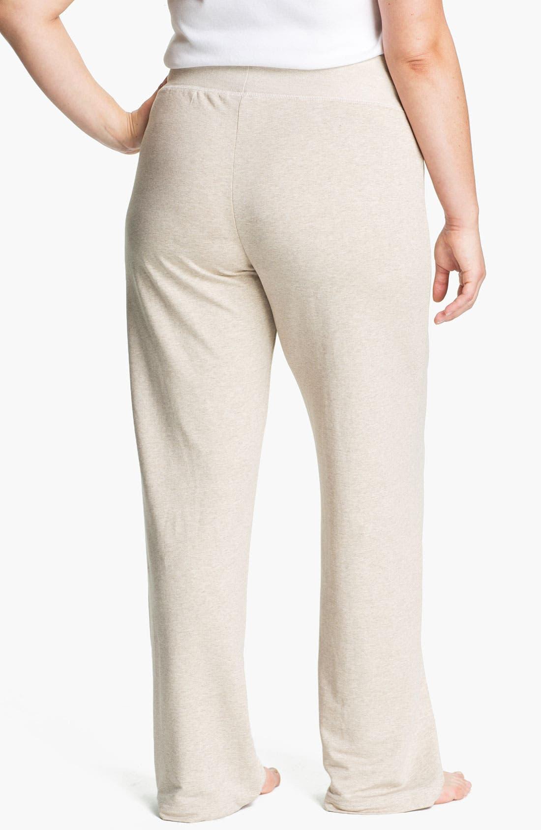 Alternate Image 2  - Pink Lotus French Terry Flare Leg Pants (Plus Size)