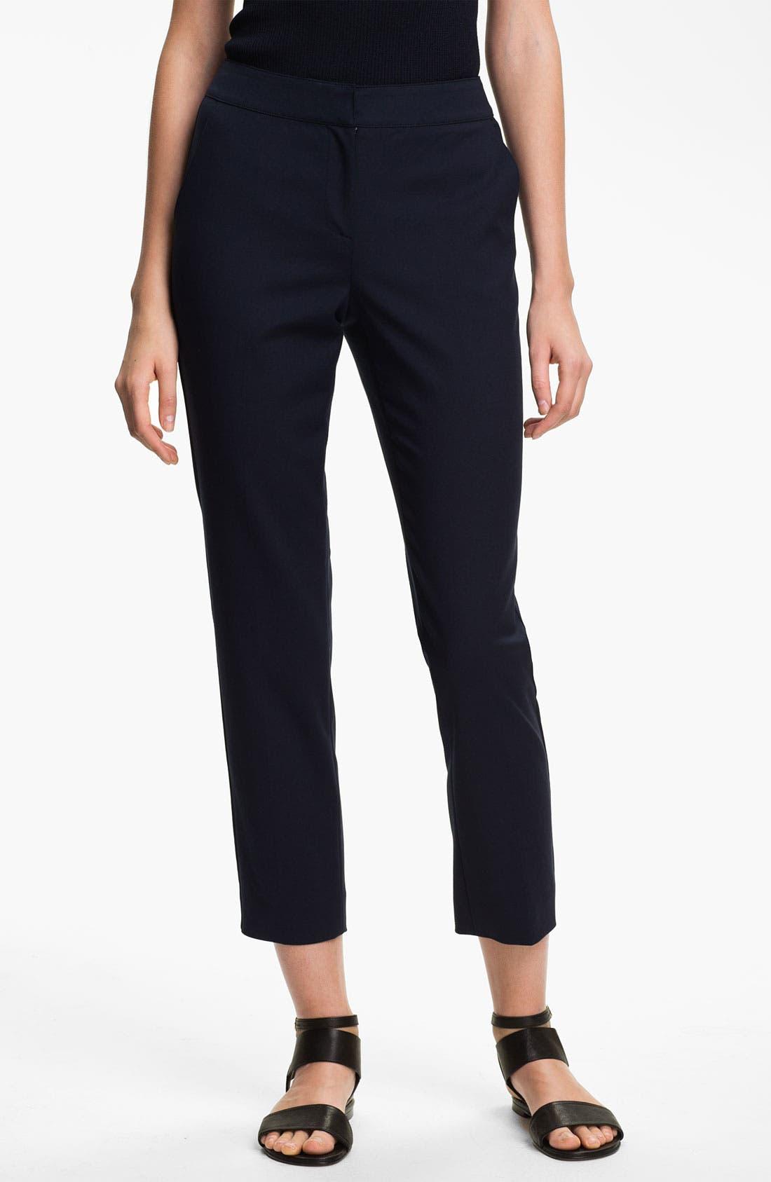 Main Image - St. John Collection 'Emma' Double Weave Stretch Cotton Crop Pants