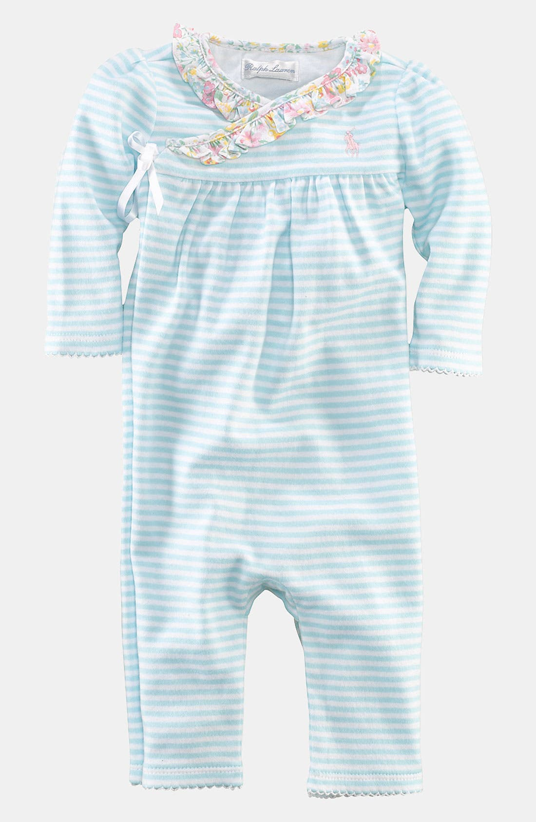 Main Image - Ralph Lauren Stripe Coveralls (Infant)