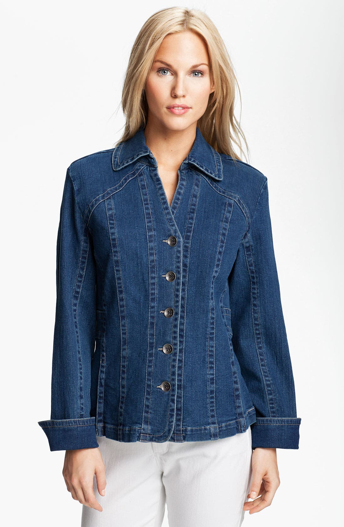 Alternate Image 1 Selected - Tria Pleat Hem Denim Jacket