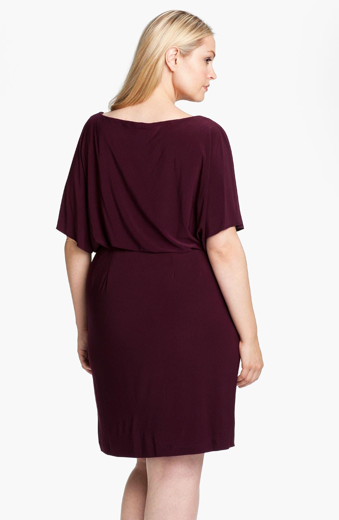 Alternate Image 2  - Eliza J Flutter Sleeve Blouson Dress (Plus)