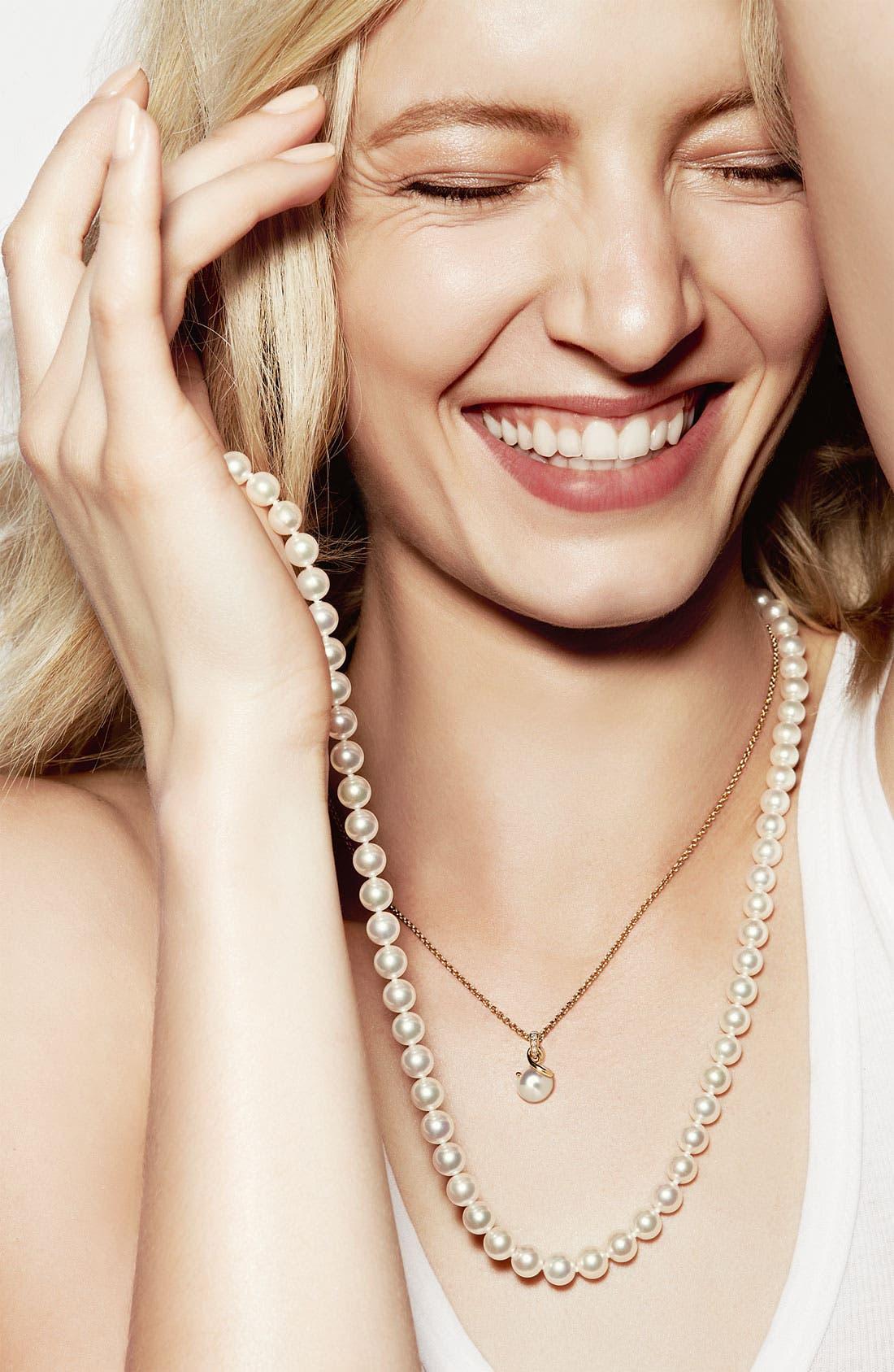 Alternate Image 2  - Mikimoto Akoya Cultured Pearl & Diamond Pendant Necklace