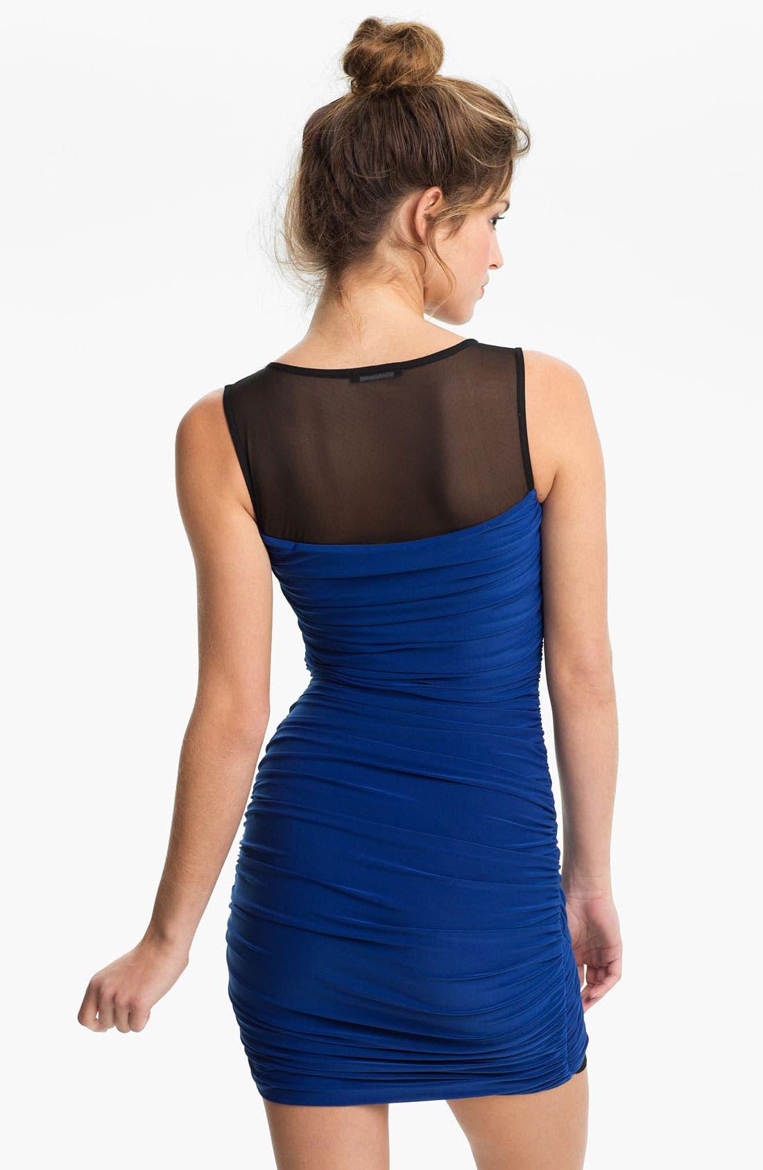 Alternate Image 2  - Soprano Mesh Panel Draped Body-Con Dress (Juniors)