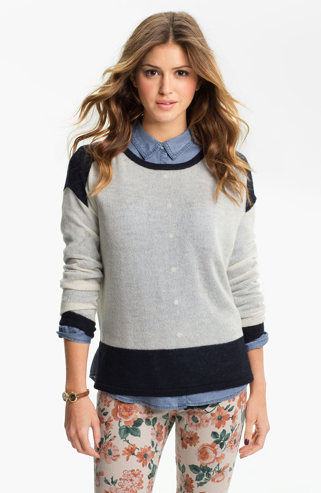 Alternate Image 1 Selected - Rubbish® Colorblock Boxy Sweater (Juniors)